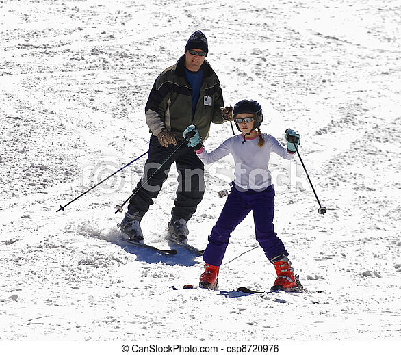 Father and Daughter Skiing - csp8720976