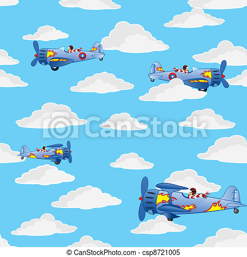 airplanes in the cloudy sky - csp8721005