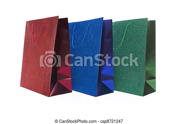 Set of Three Multicolored Glitter Gift Bags - csp8721247