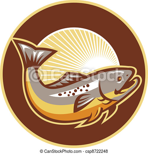 Trout Fish Jumping Sunburst Circle - csp8722248