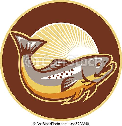 Trout Fish Jumping Sunburst Circle - csp8722248