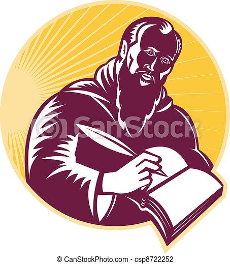 Saint Jerome Writing Scroll Retro W - csp8722252