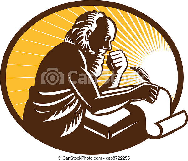 Saint Jerome Writing Scroll Retro W - csp8722255