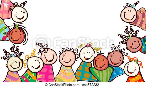 Vector Clip Art de niños, sonriente - feliz, niños, sonriente ...