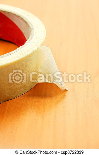 insulating tape on wood texture background - csp8722839