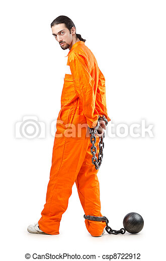 Criminal in orange robe in prison - csp8722912