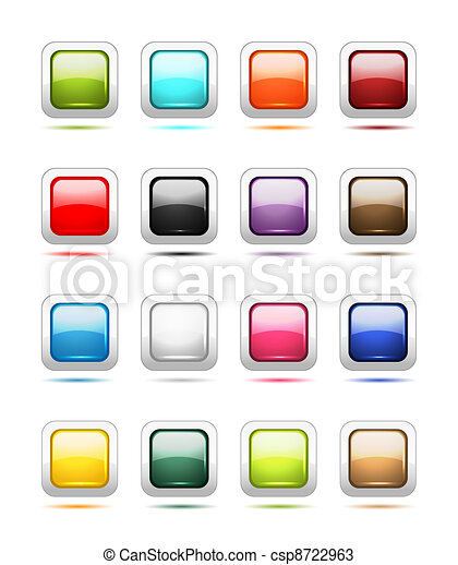 Set of glossy button icons for your design - csp8722963
