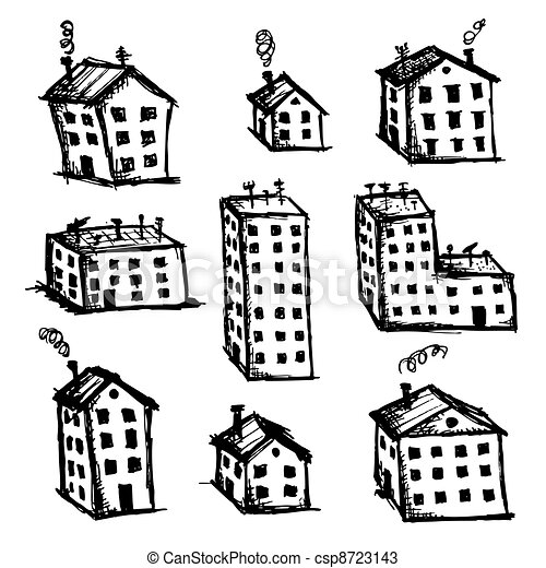 Set of houses sketch for your desig - csp8723143