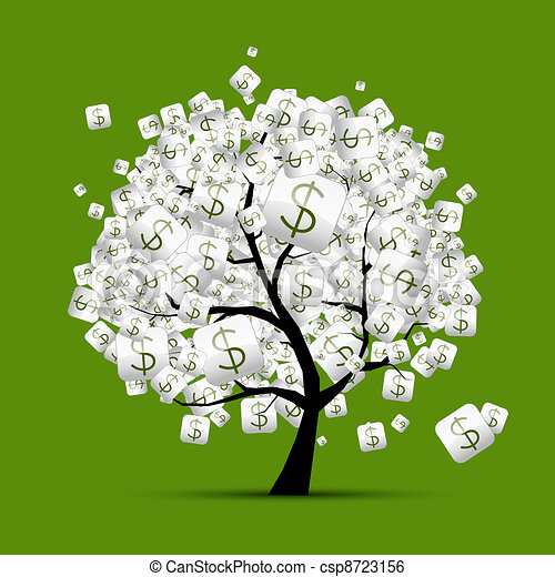 Money tree concept with dollar signs for your design - csp8723156