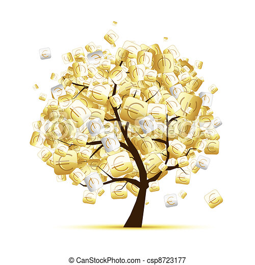 Money tree concept with euro signs for your design - csp8723177