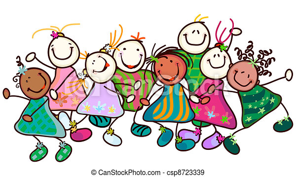 EPS Vectors of kids playing - group of smiling kids with funny faces ...