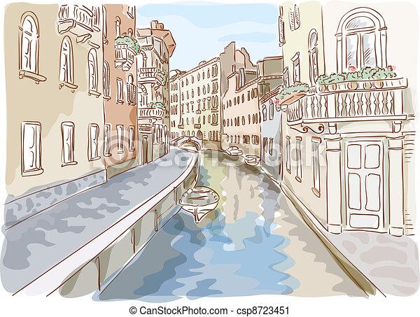 Venice. Watercolor style. - csp8723451