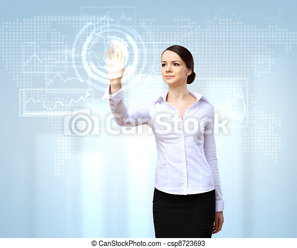 Business woman and touchscreen technology - csp8723693