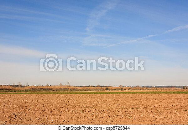 Blue sky over arid plain field on Portugal - csp8723844