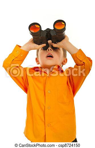 Surprised boy with binocular - csp8724150