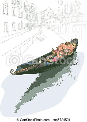 Gondola. Watercolor style. - csp8724501