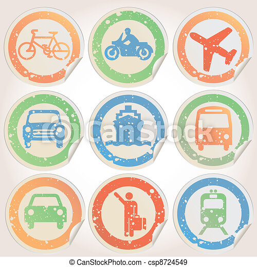 Stickers grunge with transportation - csp8724549