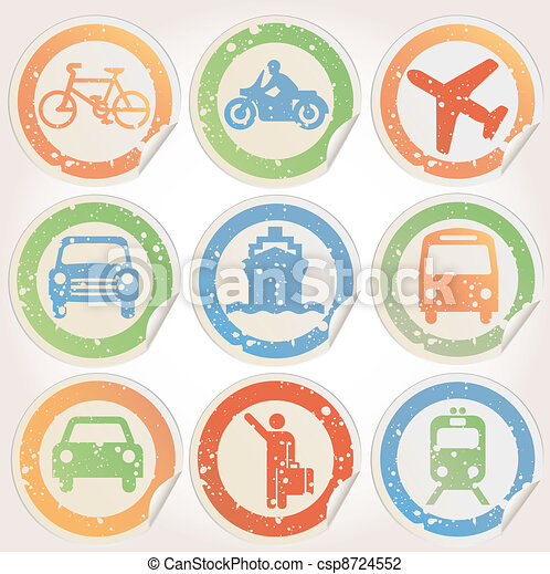 Stickers with transportation grunge - csp8724552