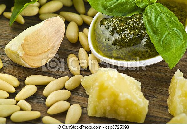 Pesto sauce over White spoon whit fresh ingredients - csp8725093