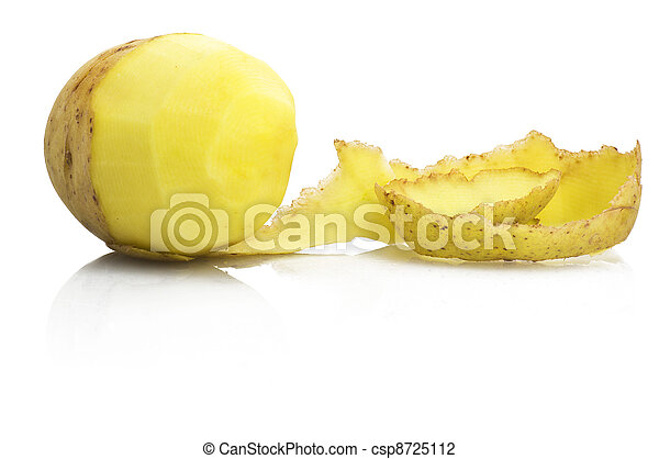 Potatoes with peeled potato on the white - csp8725112