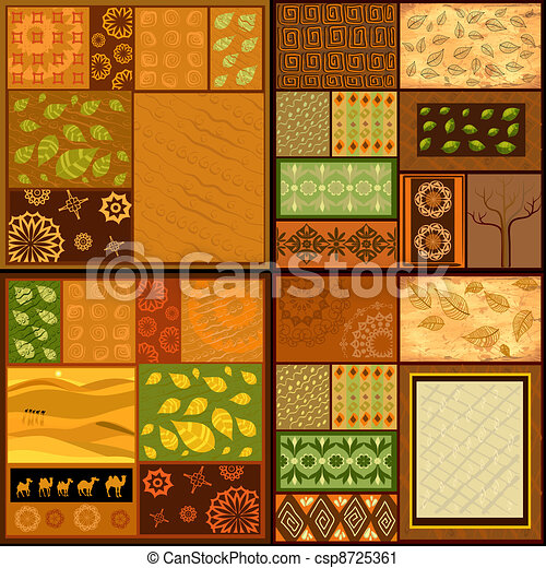 set of ethnic backgrounds, African patterns - csp8725361