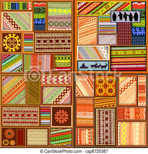 set of ethnic patterns of northern peoples - csp8725387
