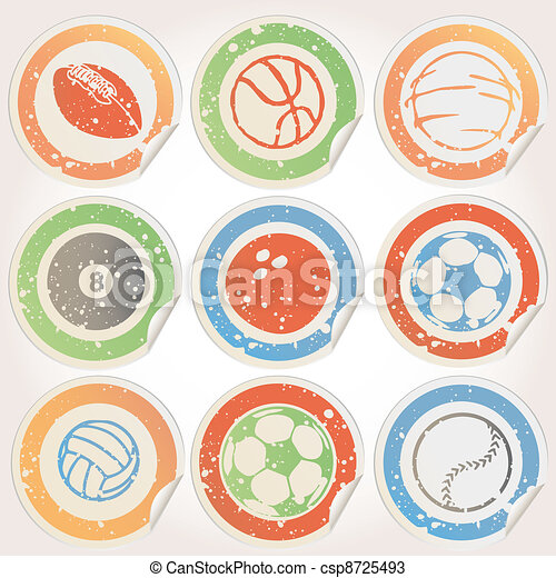 Set of Sports Ball Stickers - csp8725493