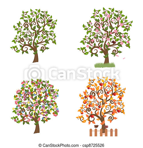 set of decorative trees Seasons - csp8725526