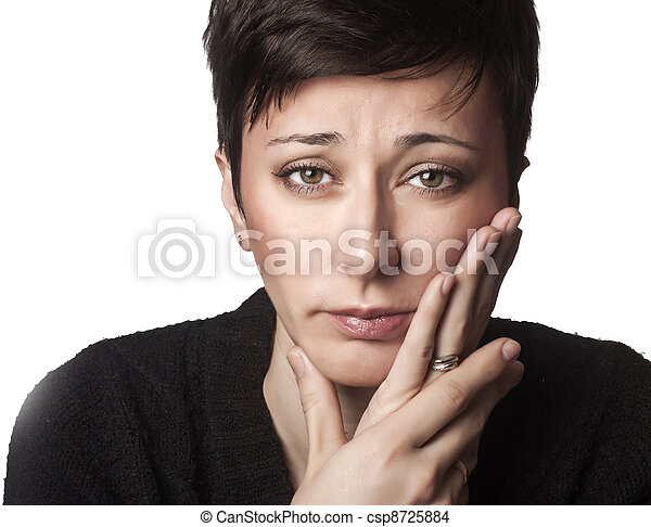 Beautiful woman having toothache - csp8725884