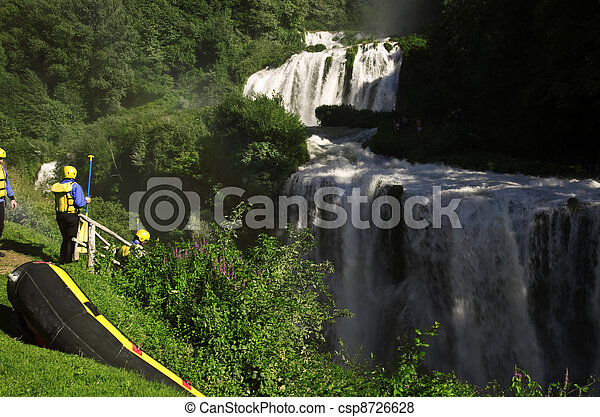 White water rafting on the rapids of Marmore Italy - csp8726628