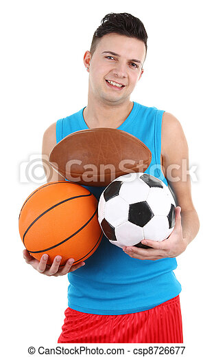 Guy holding different sports balls - csp8726677