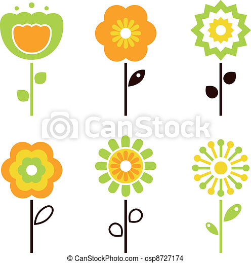 Set of retro flower elements for easter / spring - csp8727174