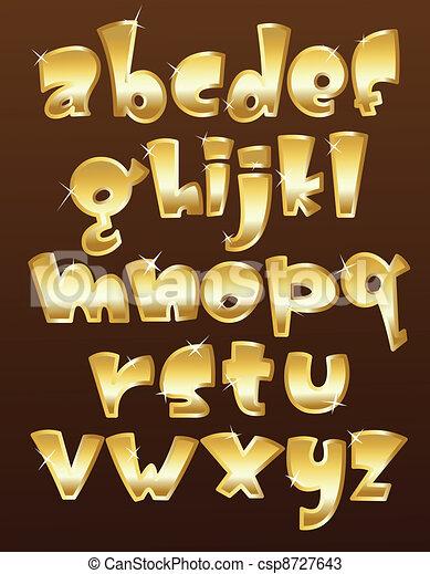 Lower case gold alphabet - csp8727643