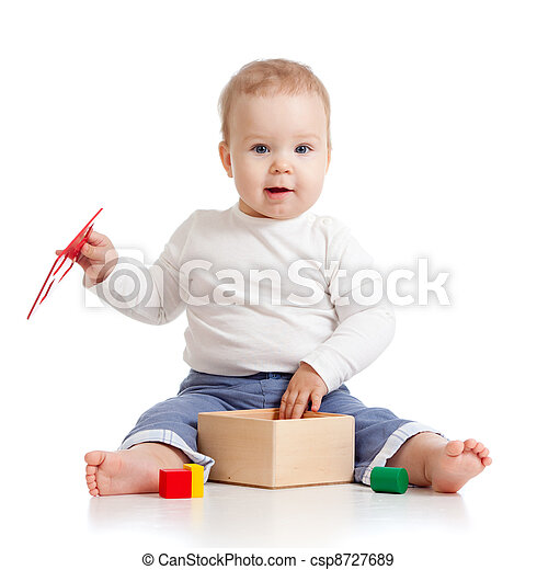 cute child with color educational toy - csp8727689