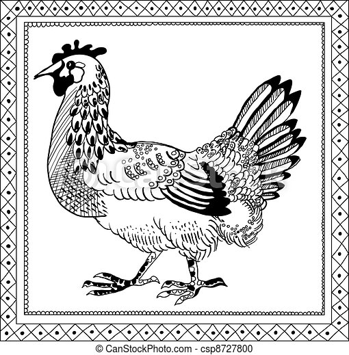 Graphic Pen Drawings Pen Drawing Chicken Retro