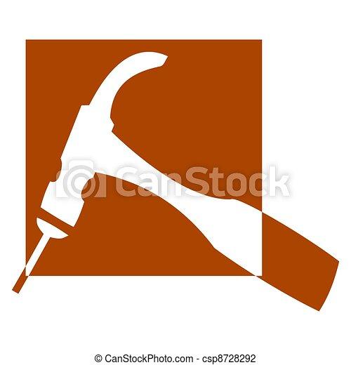martelo, prego, -, logotipo - csp8728292