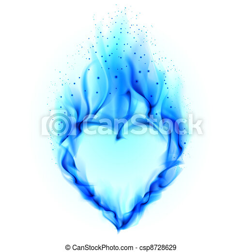Stock Illustration von blaues, herz, feuer - herz, in ...