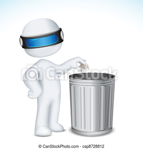 3d Man using Dustbin - csp8728812