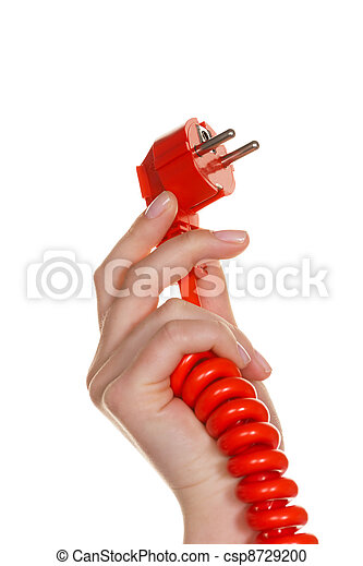 the hand of a woman holding a red power connector. - csp8729200