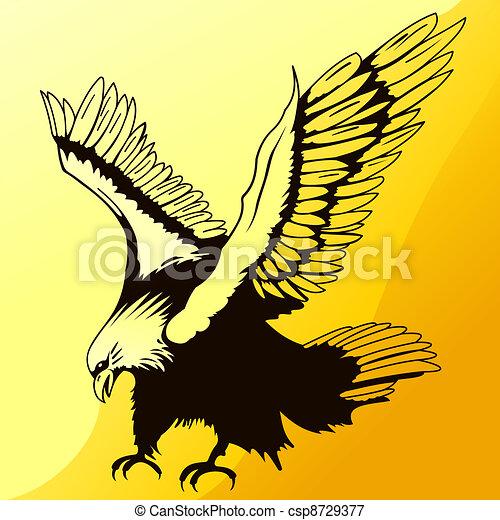 Landing Eagle Silhouette - csp8729377