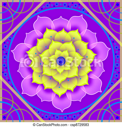 Floral mandala in shades of purple - csp8729583