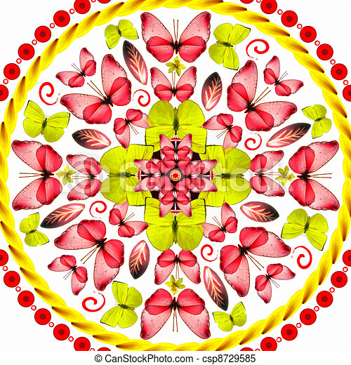 Mandala red butterflies on white background - csp8729585