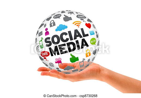 Hand holding a Social Media 3d Sphere - csp8730268
