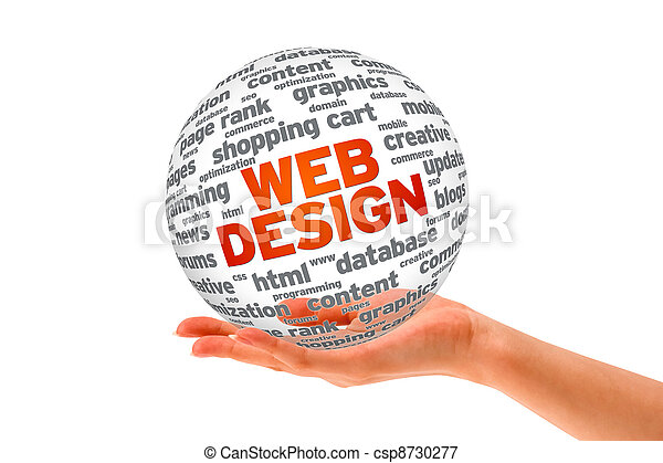 Hand holding a  Web Design 3D Sphere - csp8730277