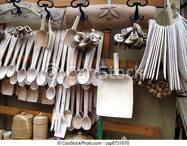 cutlery and wooden spoon for sale at the market