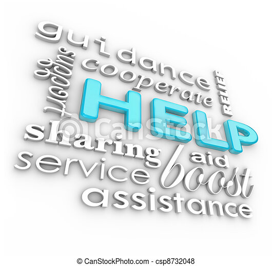 Help Words 3D Background Supportive Terms of Service - csp8732048