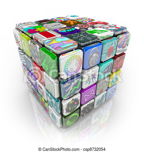 Apps Cube of Application Software Tiles - csp8732054