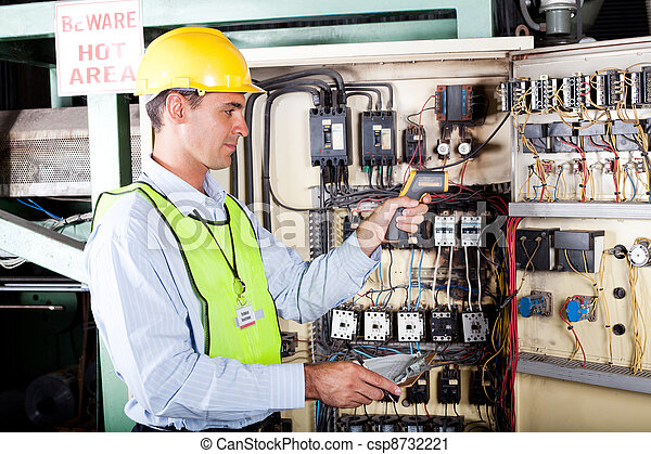 electrician checking industrial machine - csp8732221