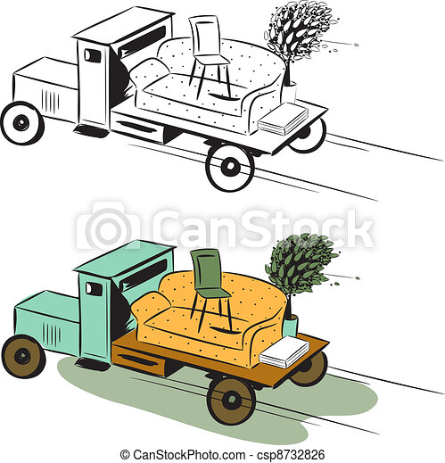 Clip Art Vector Of Truck With Furniture Concept Of Moving Colour Image And Csp8732826