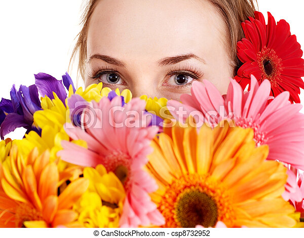 Happy young woman holding flowers. - csp8732952